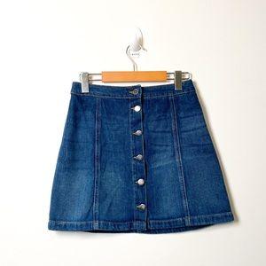 H&M Button Up Denim Mini Jean A Line Skirt
